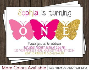 Butterfly Birthday Invitation - Pink and Gold Birthday Invitation