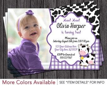 Cow Birthday Invitation • Barnyard Birthday Invitations • Purple