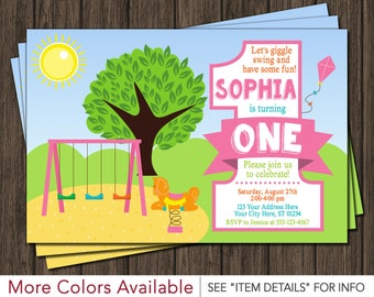 Park Birthday Party Invitation | Playground 1st Birthday Invitations | Park First Birthday Invite | Park Party | Personalized and Printable