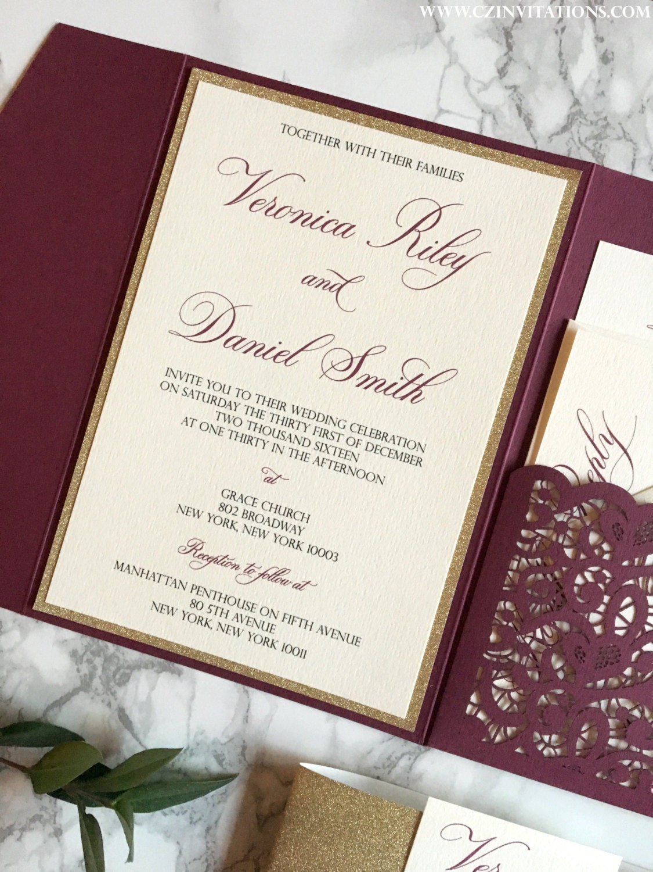 laser cut pocket wedding invitation burgundy wedding invitations 1