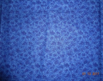 "2 Yards Blue Cotton Fabric Remnant - 44"" wide"