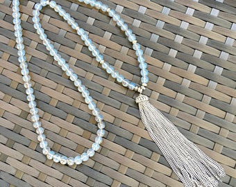 Gray and Silver Glass Beads Tassel Long Necklace / Gray and Silver Tassel Long Necklace.