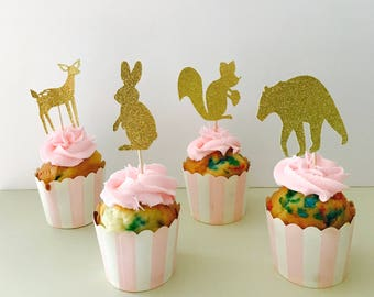 Woodland Animal Cupcake Toppers, set of 12/ Glitter woodland cupcake toppers