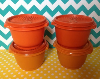 Tupperware servalier bowls, orange tupperware,  set of 4 with lids,  tupperware containers, leftovers