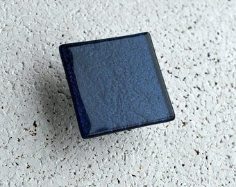Modern Fused Glass Cabinet Knob in Pearly Blue. Dark Blue Glass Knob. Navy Blue Cabinet Knob. Midnight Blue Furniture Handle