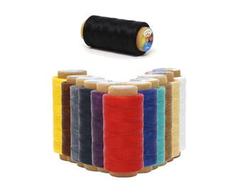 Mandala Crafts® 150D 0.8mm, 250M, Leather Sewing Stitching Flat Waxed Thread String Cord, Many Color Selections