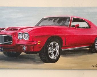 CUSTOM car painting.  Car or Truck Painting on canvas. Side view Painting of car or truck from your photo.