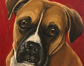 Boxer art print from original canvas painting, Boxer dog art print canvas and paper options
