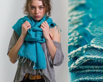 Nomad Scarf Turquoise - blanket scarf, oversized scarf, chunky scarf, festival accessories, festival blanket, throw