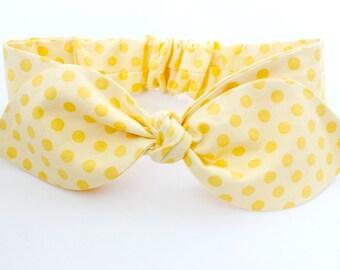 Baby headband, infant headband - yellow on yellow polka dots