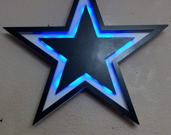 Dallas Cowboys inspired Star 3D Lighted Sign -  Fast ship. Man Cave Bar Sign18in