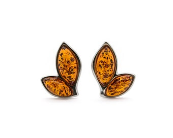 Amber Leaf Earrings - Leaf Stud Earrings - Leaf Earrings - Silver Leaf Earrings - Amber Earrings - Leaf Studs - Leaf Jewelry -442E1