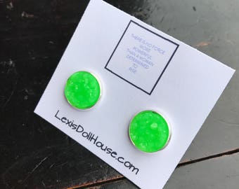 12mm Bright Neon Lime Green Faux Druzy Cabochon Earrings in Silver, Gunmetal, Rose Gold Stainless Steel Stud