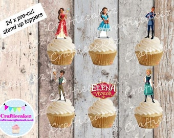 24 x Pre Cut Edible Elena of Avalor Stand Up Cupcake Toppers