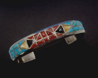 Vintage Zuni NICK and THERESA LUHELA Multi-Stone Cobblestone Inlay Sterling Silver Cuff Bracelet