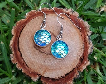Mermaid colour change dangle drop earrings. Hypoallergenic stainless steel posts blue based