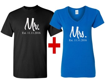 Mr and Mrs Couples shirts, Ladies V-NECK shirt with Men's T-shirt, Mr and Mrs shirts, Mr and Mrs. Newlywed shirts, Just Married shirts