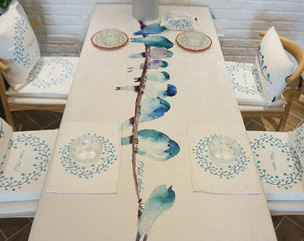 Tablecloth/Runner -  Watercolor birds Prints table linens  - Table Linen Party  Home Decor Dining Kitchen table wares