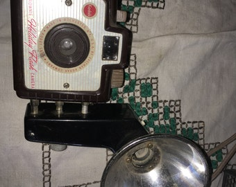 Vintage Kodak Brownie Holiday Camera With Flash Attachment