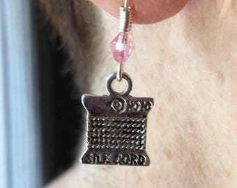 Crafter earrings ~ Gift for lovers of sewing, knitting, crochet, craft ~ Fun ~ Quirky ~ Silver Plated Hypo-allergenic x