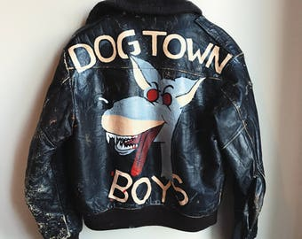 Dog town leather fur collar jacket