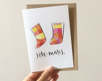 Sole Mates Greeting Card - Watercolour + Ink Illustration, 105 x 148mm, Love, Valentines, Engagement