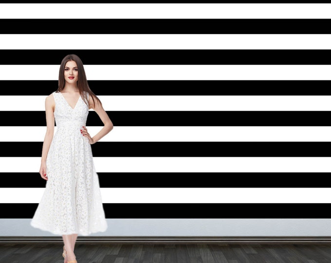 Featured listing image: Custom Personalized Photo Backdrop - Party Backdrop Birthday-  Photo Backdrop - Step and Repeat Backdrop - Black and White Stripes Backdrop