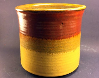 Utensil Jar with Amy's Yellow and Iron Red Glaze