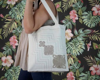 FREE SHIPPING-Canvas Tote Bag-Mothers Day Gift-Traditional Lacy Canvas Tote Bag-Handmade Lacy Tote Bag-100% Cotton-Beige Tote Bag-Chrıstmas