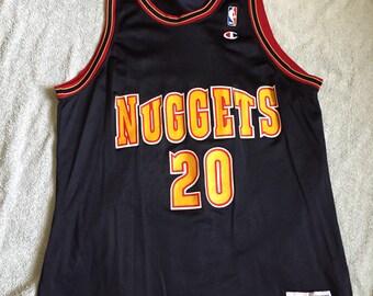 Vintage denver nuggets Laphonso ellis champion basketball jersey 90s 80s nba 48 L/XL