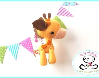 Baby Giraffe PDF sewing pattern-DIY-Giraffe toy pattern-Wild animals-Nursery decor-Zoo animals-Instant download-Baby's mobile toy
