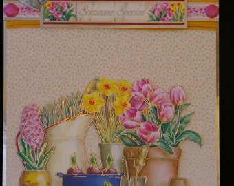 Handcrafted 3d Decoupage Spring Flowers 'Any Occasion' Card  - Made in Uk - Beautiful female design