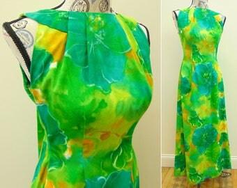 Vintage Hawaiian Dress, Blue Green Yellow Orange, Waterfall Watteau Train, Floral Maxi Dress, Women's Size 8 Medium, by Paradise Isle
