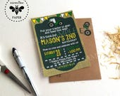 Tractor Birthday Invitations with matching kraft recycled envelopes