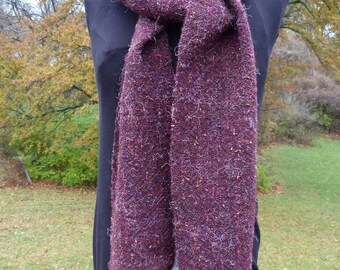 Handwoven Scarf in Maroon with Little Flecks of Color (matching Wrist Warmers sold separately)