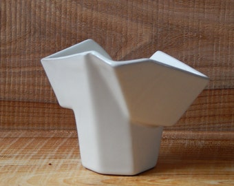 White Ceramic Origami Vase Made in USSR Russian Design Multifaceted Multiplex Vase