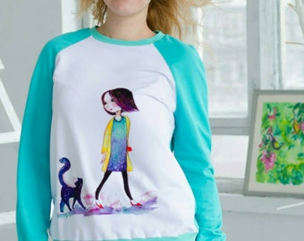 Girl and her Cat Watercolor Sweatshirt, customized sweatshirt, printed sweater, womens fashion, designer clothes, wearable art, Galaxy, M-L