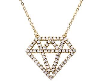 Diamond outline necklace