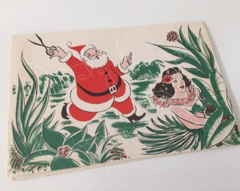 Vintage 1950s Racy Hawaiian / Tiki Christmas Card