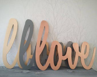 Custom love script wooden wall decor