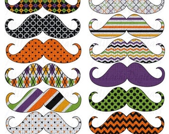 60% OFF SALE Halloween Mustache Digital Clip Art - Commercial Use - Instant Download - M213