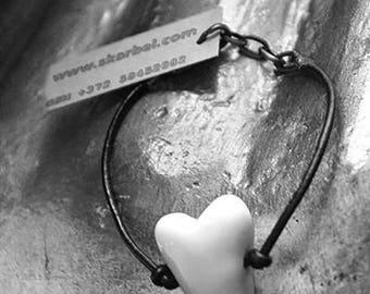 Porcelain heart bracelet