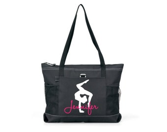 gymnastics  tote, tote with zipper, personalized gymnastics bag, personalized gymnastics team tote, competition tote bag, large tote bag