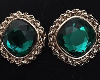 Bergere Emerald Green Clip On Earrings
