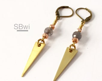 Geometric earrings in bronze with copper detail