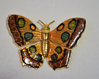 Vintage Gold Plated Enamel Butterfly Brooch Pin