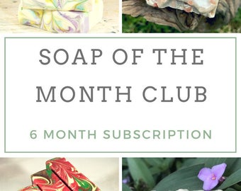 Subscription Box - Monthly Subscription Box - Cold Process Soap - Natural Soap - Artisan Soap - Homemade Soap - Gift for Her - 6 Month
