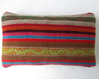 Colorful pillow, pillow Peruvian striped, Peruvian design, decoration Peruvian, Peruvian pad, Peru. (12 x 20 inches.) (30x50cm) CR-242