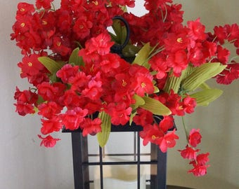 Red Flowers  Lantern Swag,Wedding Flowers Lamp Ring, Red Green Summer Spring Swag