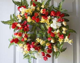 Roses Tulips Wreath, Large Wreath, Summer Wreath, Red Yellow White Green Fern Wreath, Ready to Ship 22in